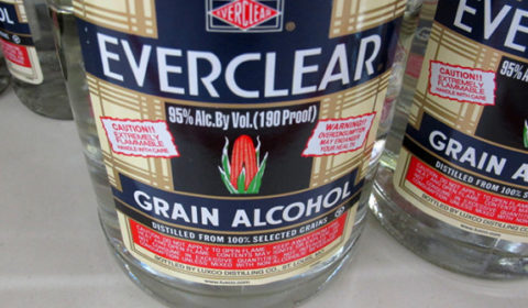 This Dec. 30, 2013 photo shows bottles of Everclear, 190 Proof grain alcohol, for sale at a grocery store in Madison, Wis. A bill in the state Assembly would ban the sale of 190-proof alcohol like Everclear, out of concerns about its potency. (AP Photo/Scott Bauer)