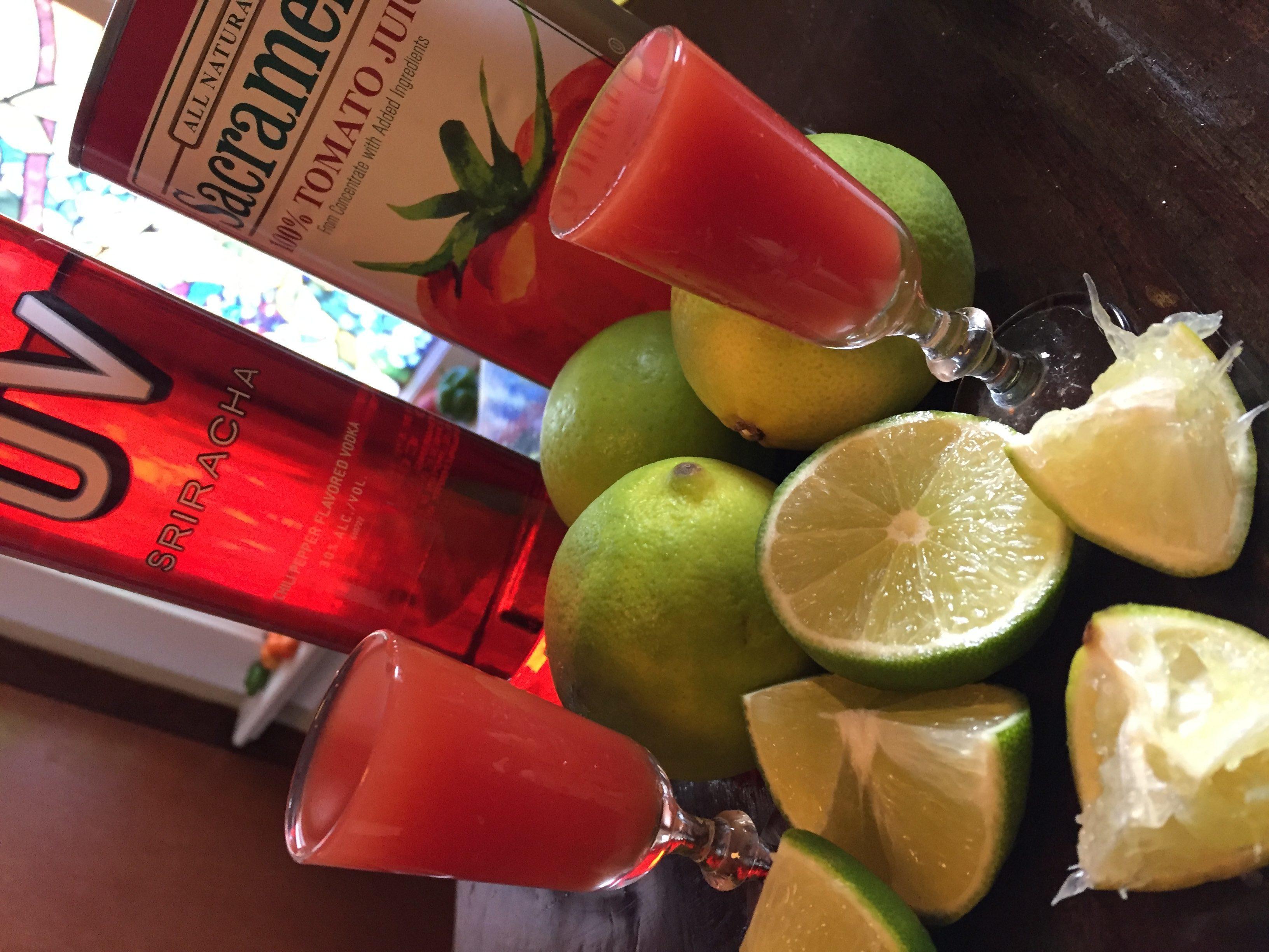 UV Vodka Sriracha Bloody Mary Shooter